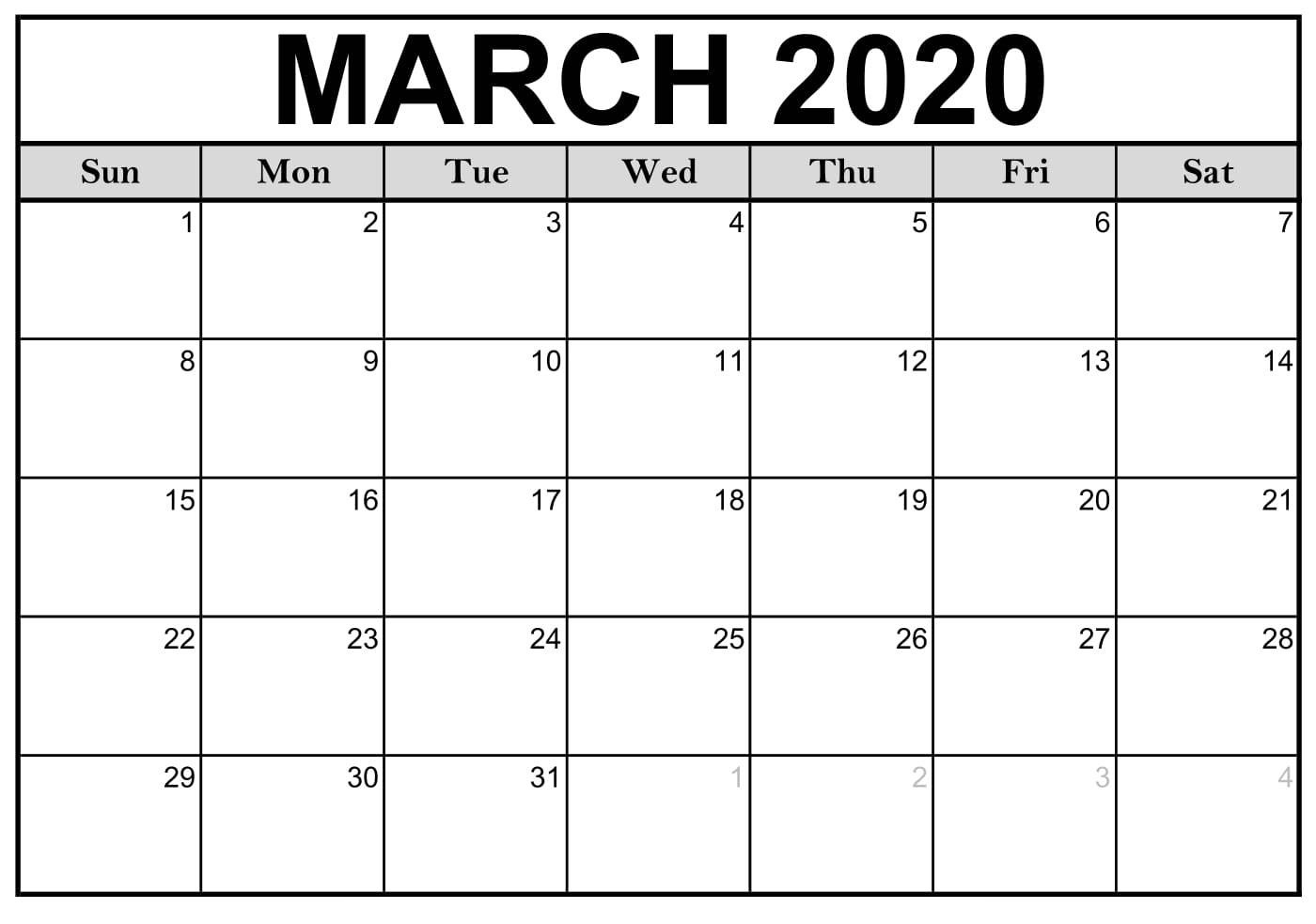 March 2020 Calendar Free Printable Notes - 2019 Calendars