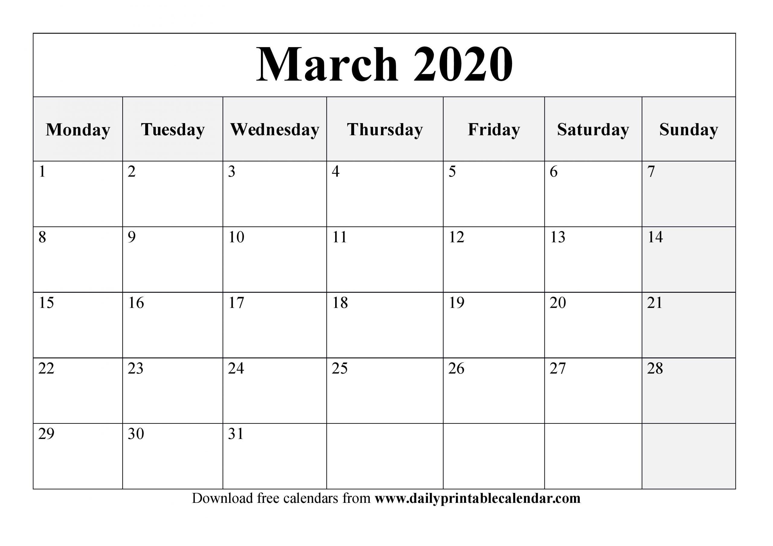 March 2020 Calendar Printable - Blank Templates - 2020 Calendar
