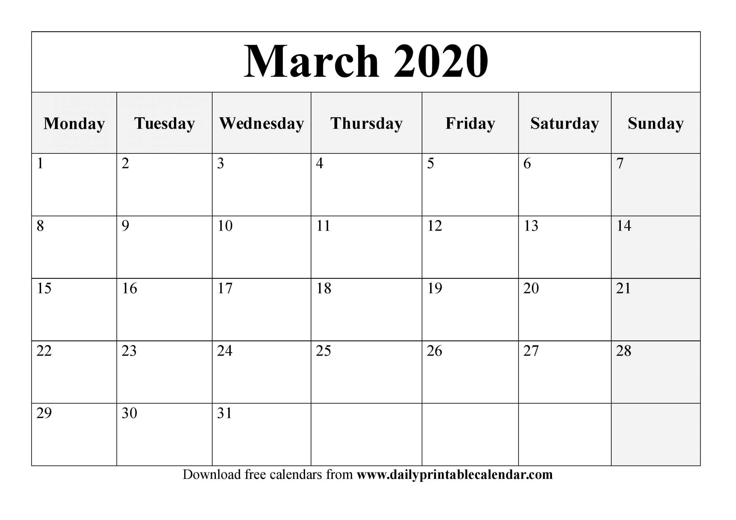 March 2020 Calendar Printable - Blank Templates - 2020 Calendar