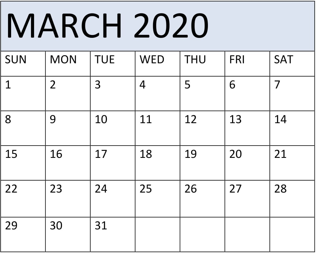 March 2020 Calendar Template Word – Free Latest Calendar