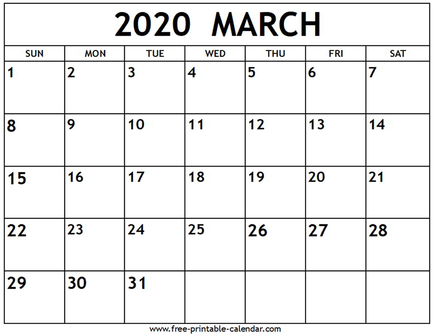 March 2020 Calendar With Holidays Printable - Togo.wpart.co