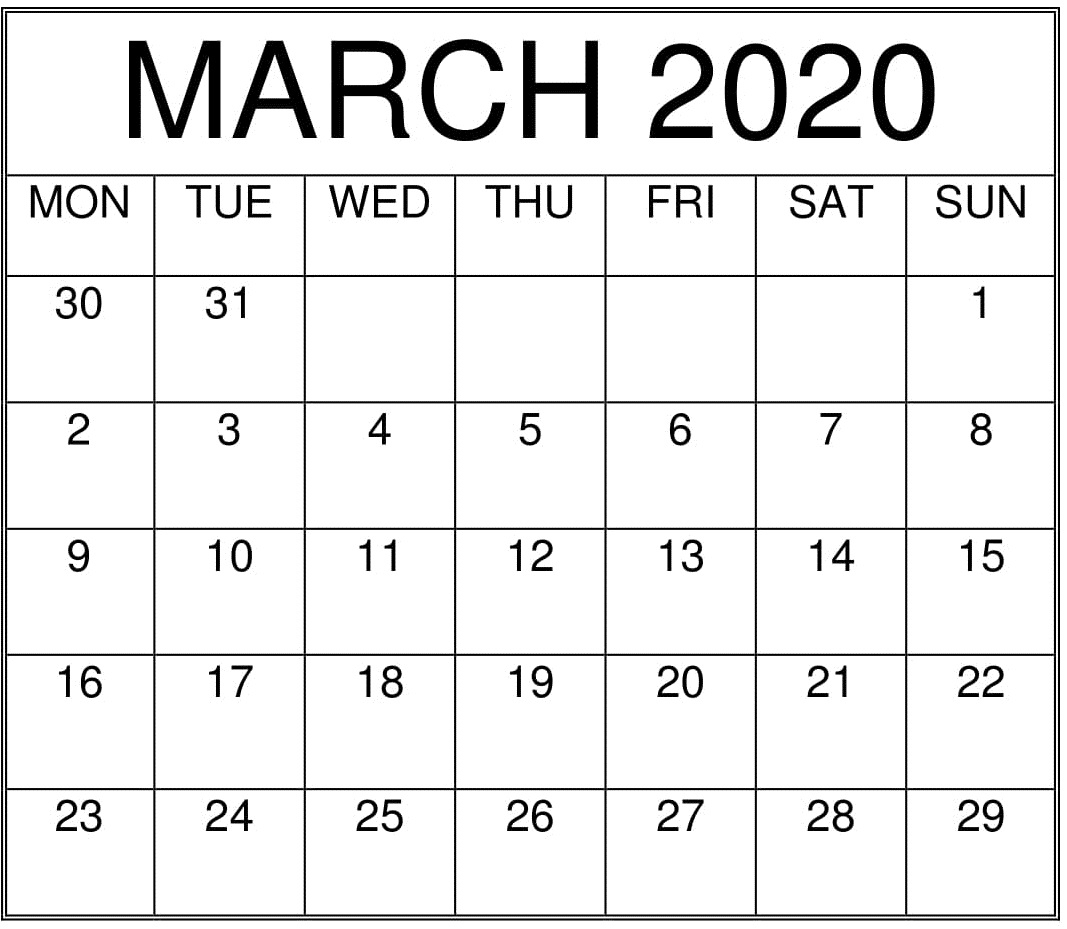 March 2020 Printable Monthly Calendar – Free Latest Calendar