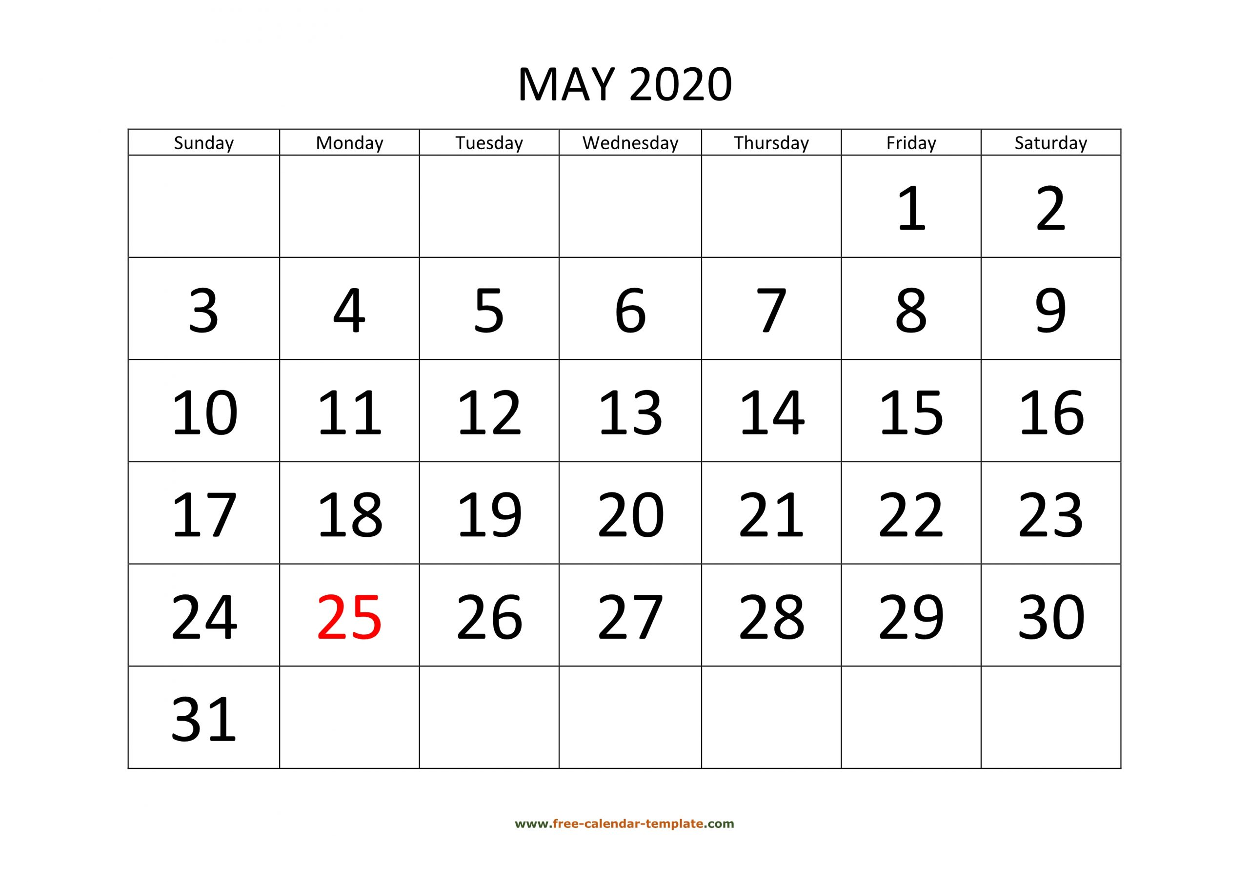 May 2020 Calendar Designed With Large Font (Horizontal