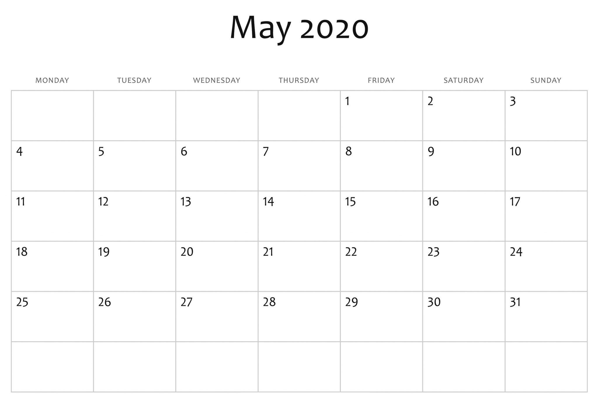 May 2020 Calendar Printable Blank Template Pdf Word Excel