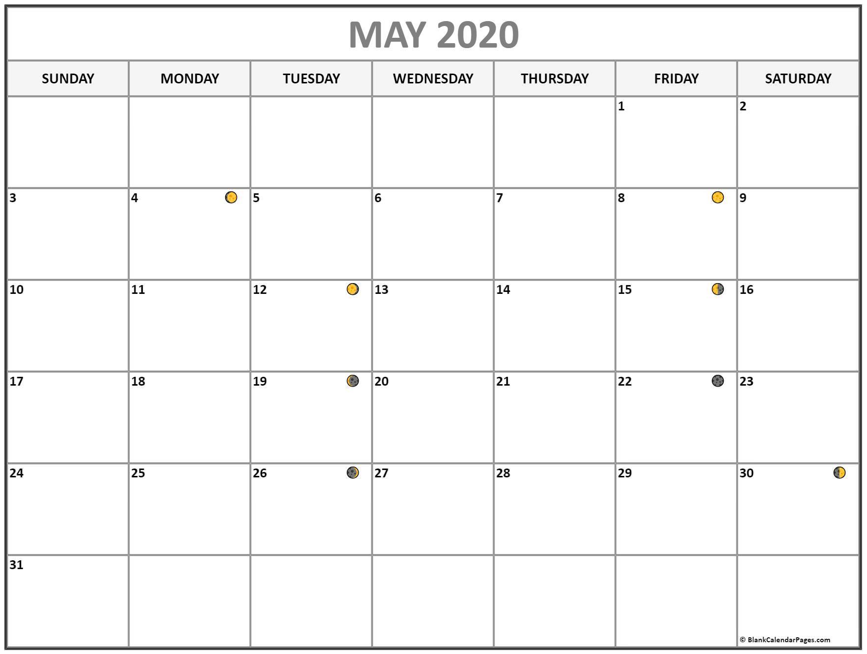 May 2020 Lunar Calendar | Moon Phase Calendar