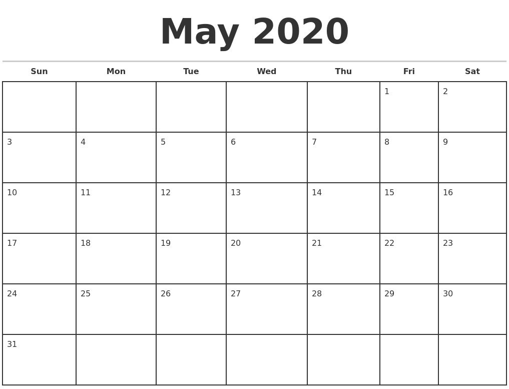 May 2020 Monthly Calendar Template-Monthly Calendar