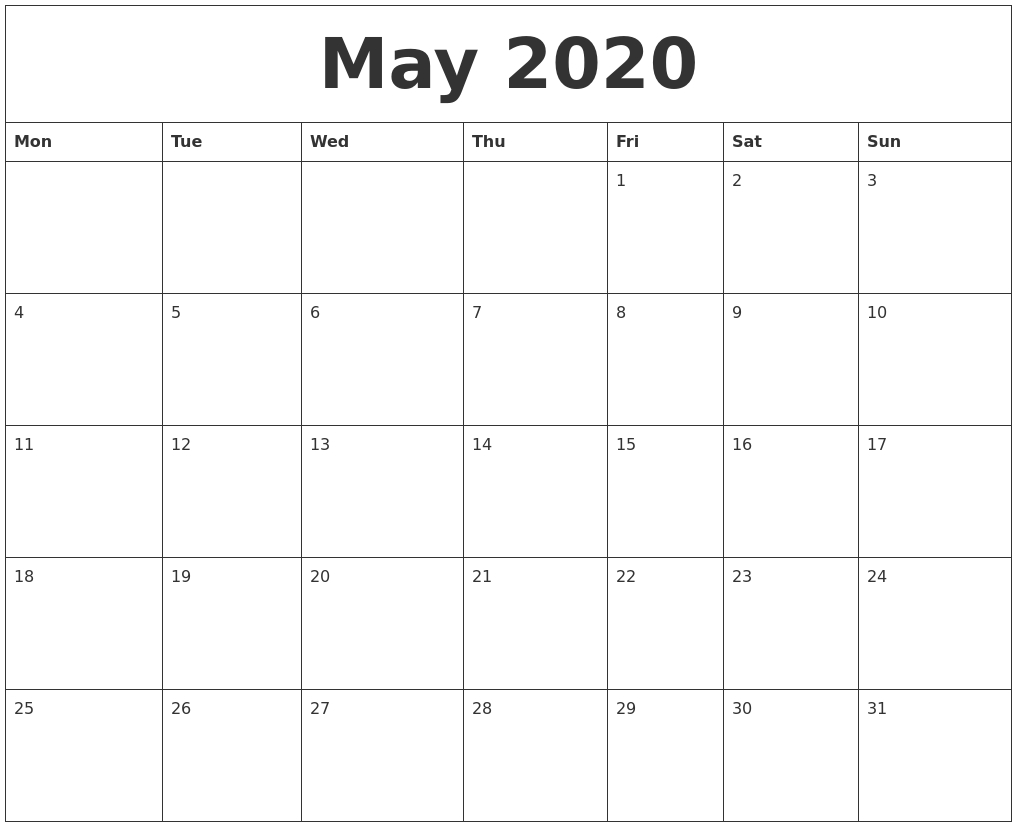 May 2020 Print Online Calendar
