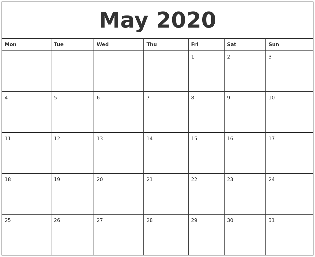 May 2020 Printable Monthly Calendar-Monthly Calendar