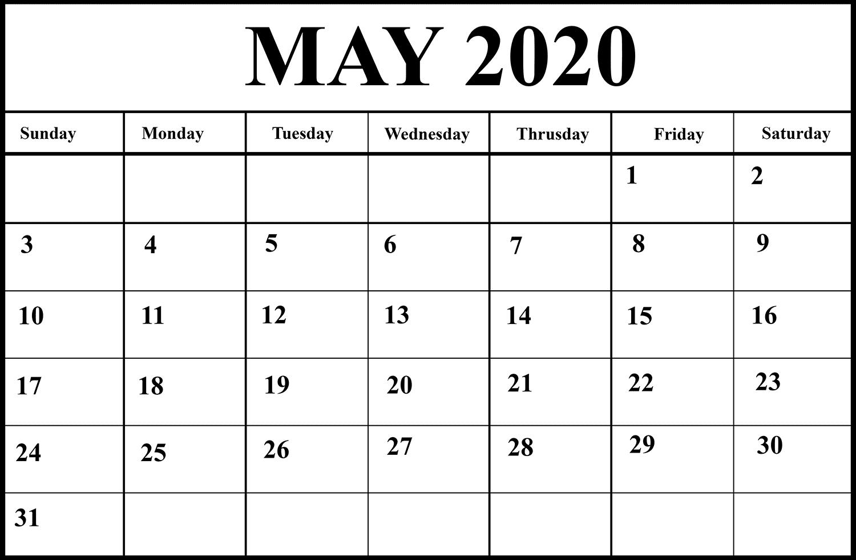 May Calendar 2020 Word | Calendar 2020, Print Calendar