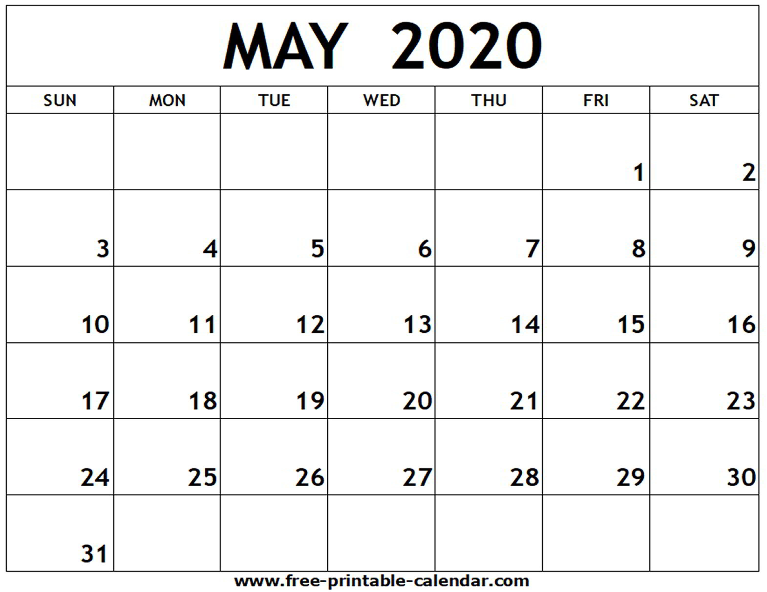 May Calendar Template 2020 - Saves.wpart.co