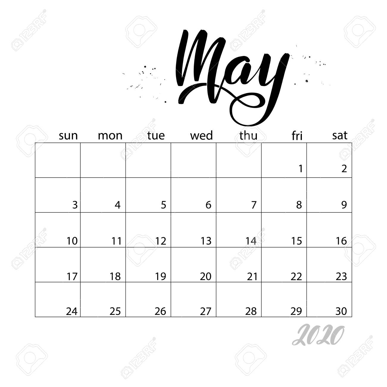 May. Monthly Calendar For 2020 Year. Handwritten Modern Calligraphy..