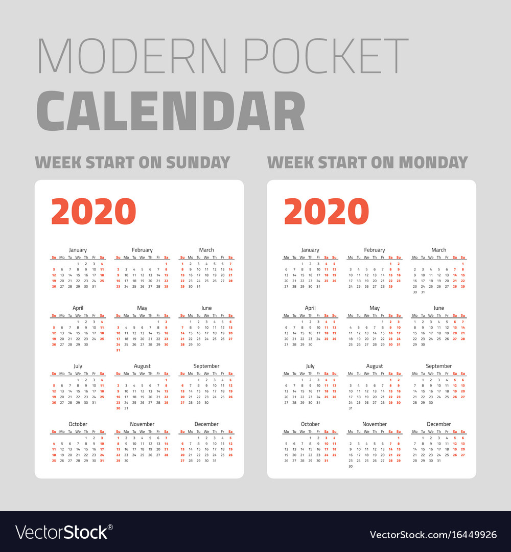 Modern Pocket Calendar Set 2020