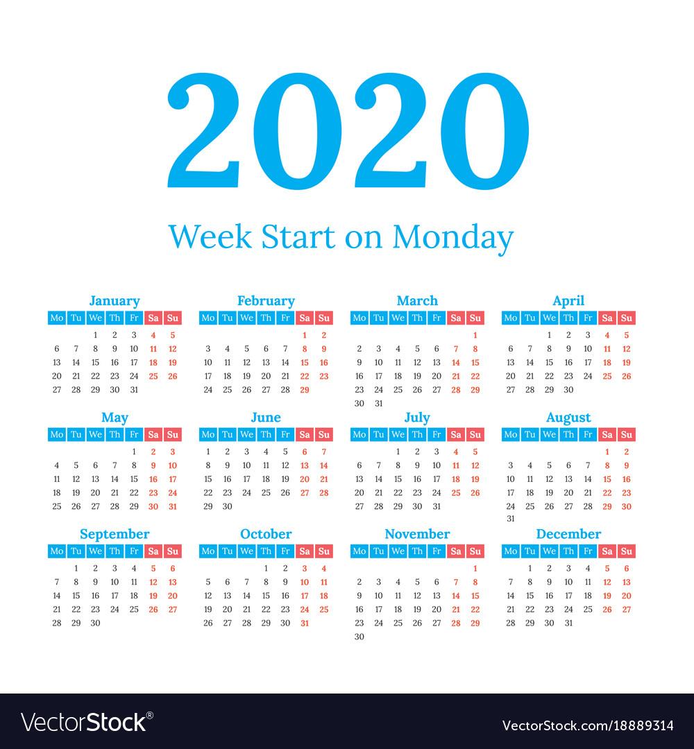 Monday Start Calendar 2020 - Togo.wpart.co