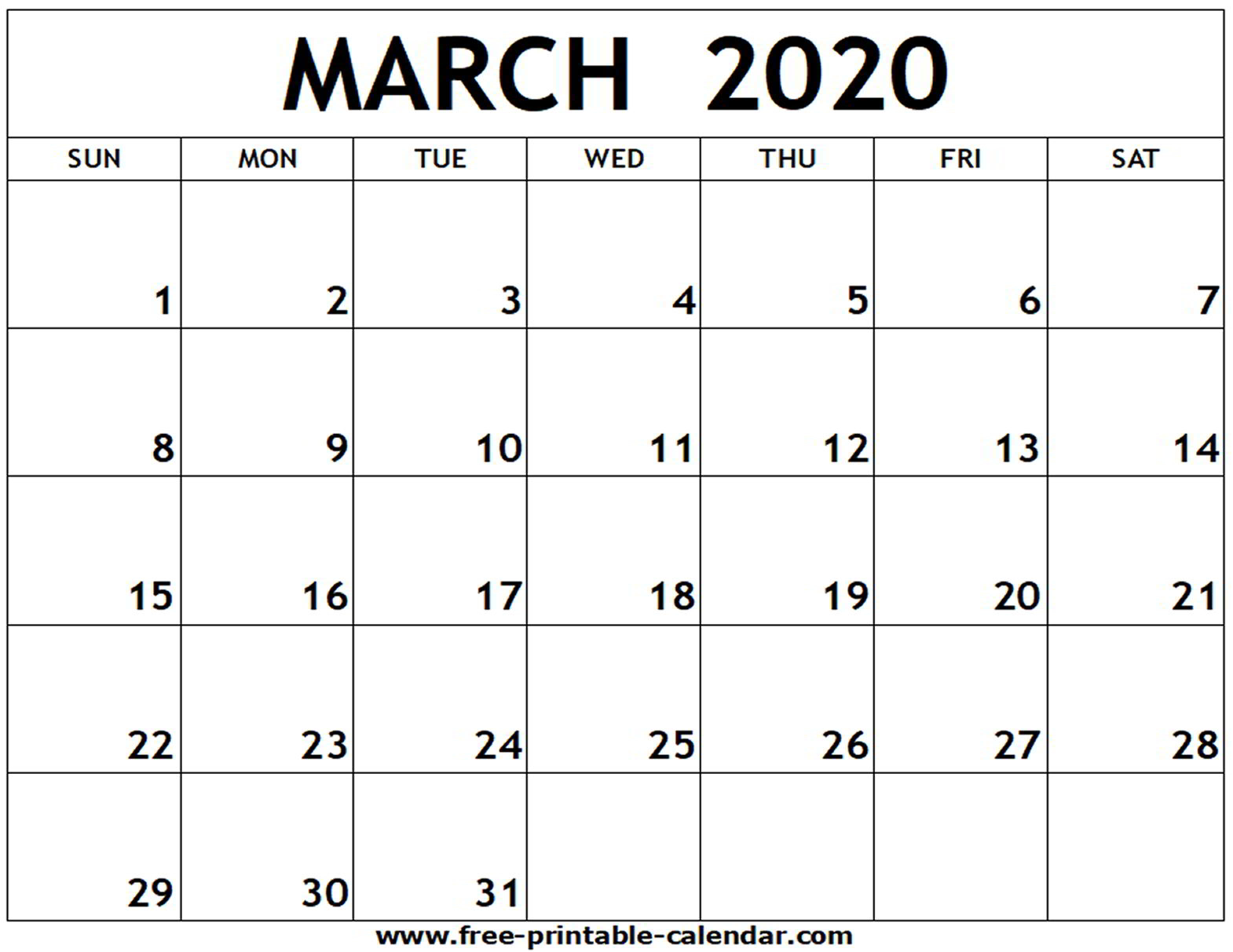 Monthly Calendar 2020 March - Togo.wpart.co