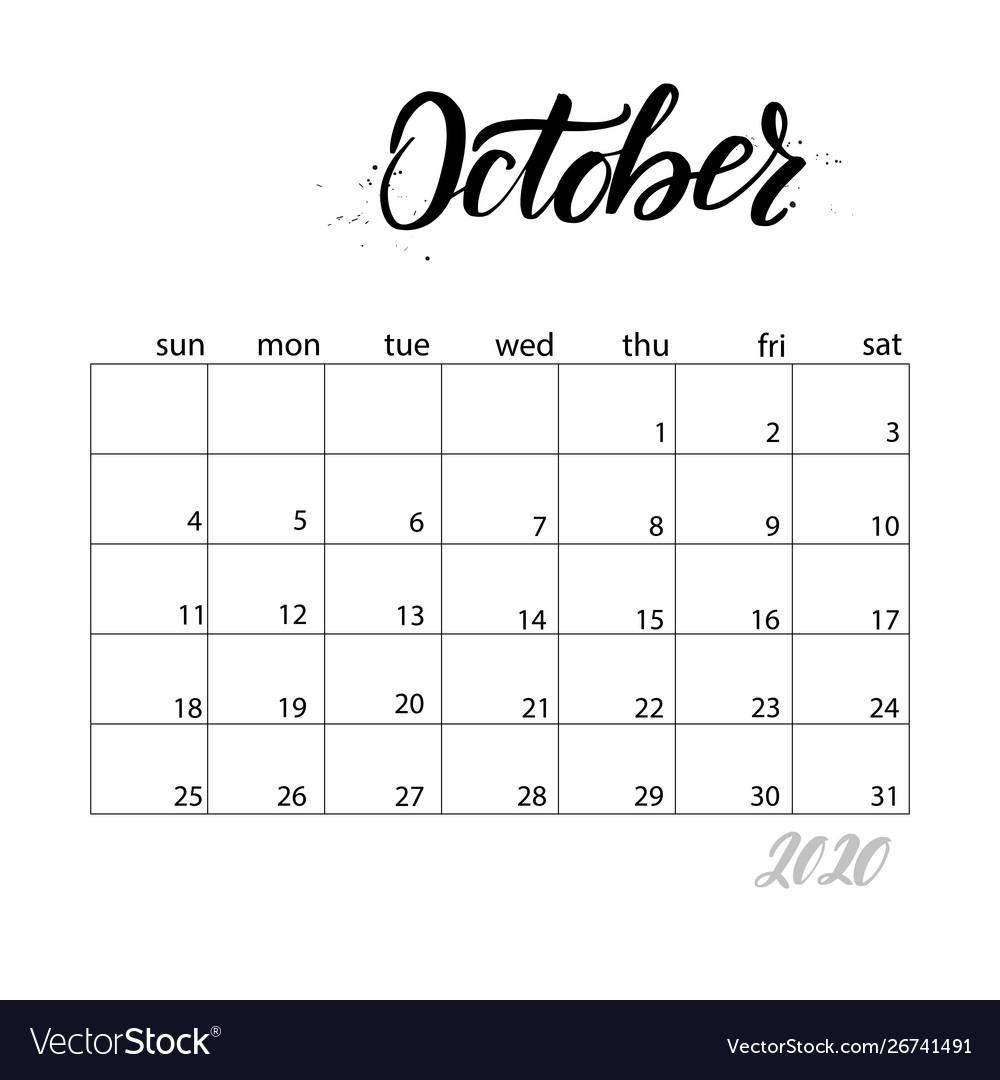 Monthly Calendar For 2020 Year