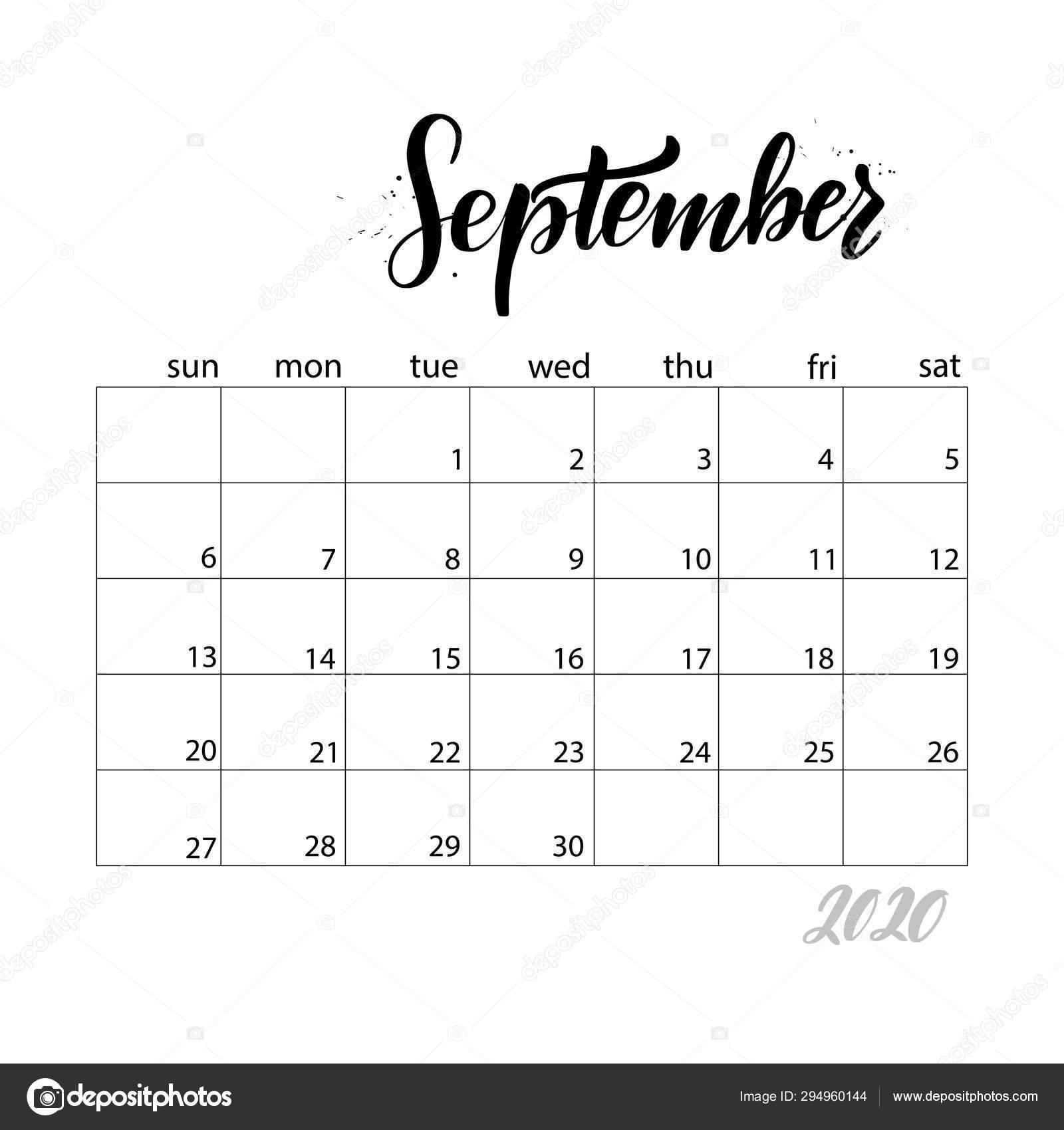 Monthly Calendar For 2020 Year. — Векторное Изображение
