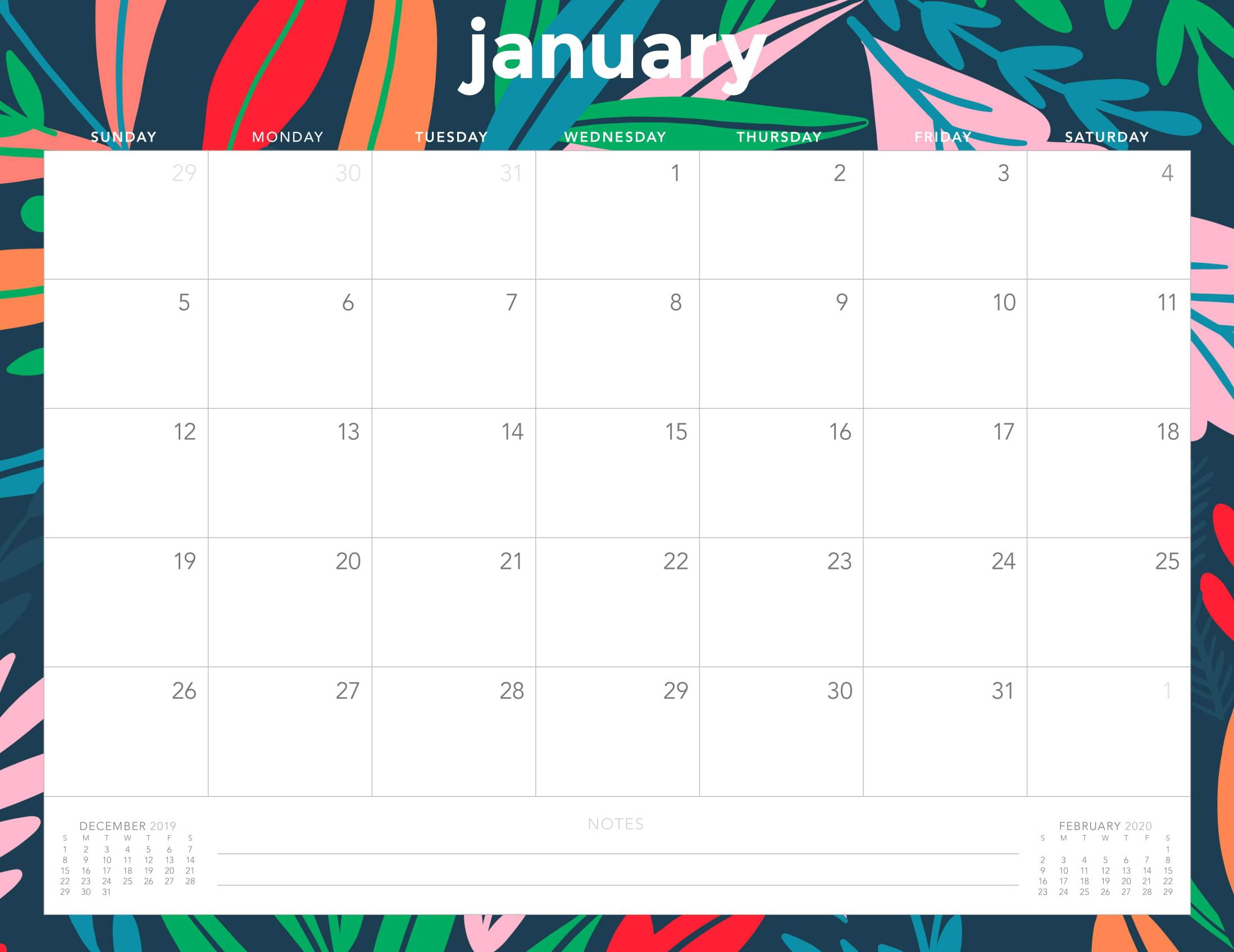 Monthly Calendar For January 2020 Template - Set Your Plan