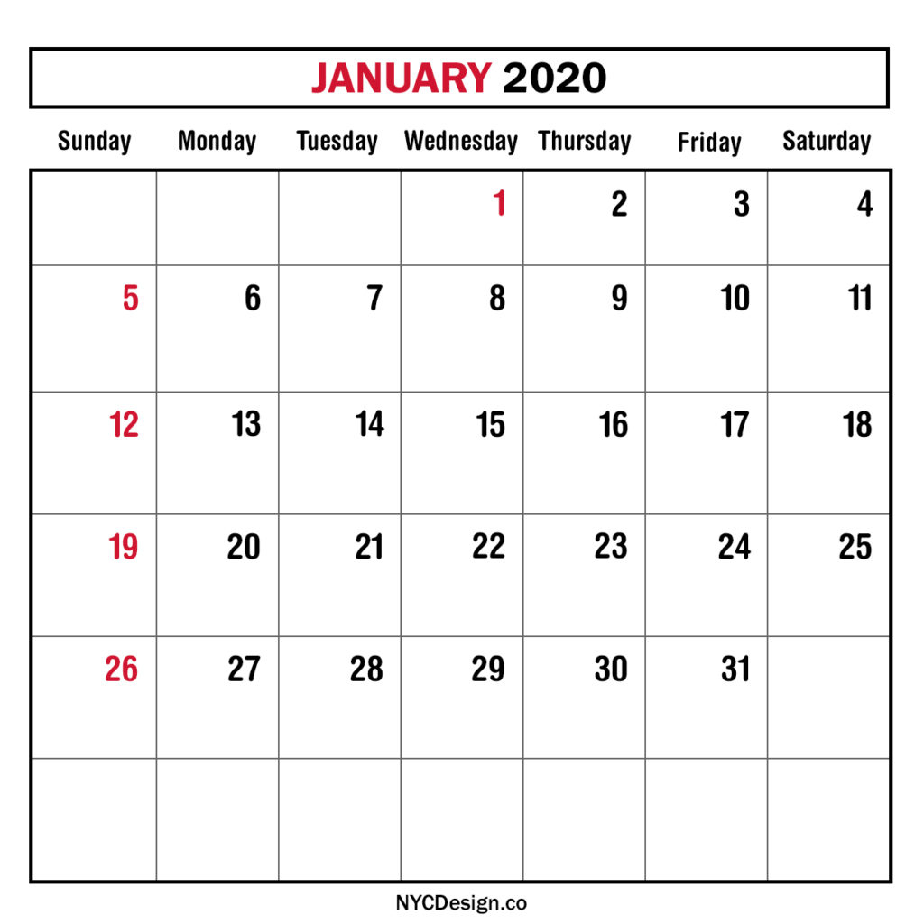 Monthly Calendar January 2020, Monthly Planner, Printable