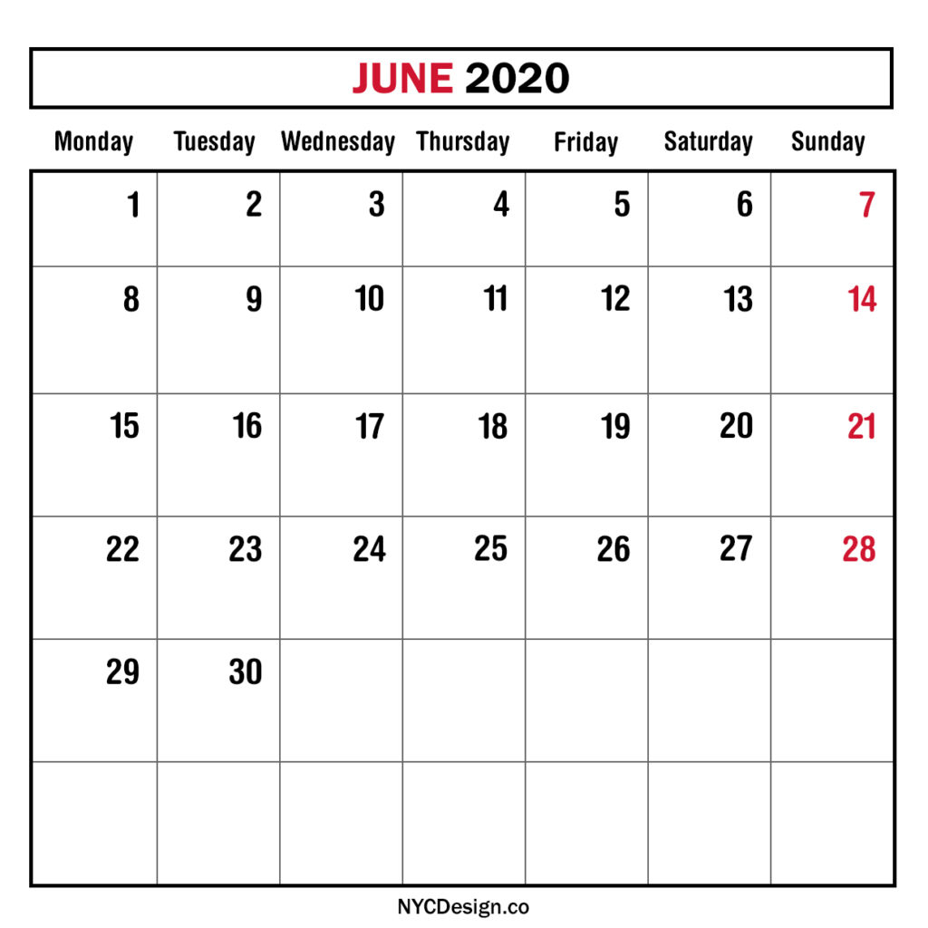 Monthly Calendar June 2020, Monthly Planner, Printable Free