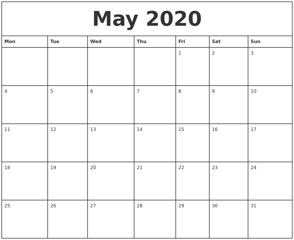 Monthly Calendar Starting With Monday - Togo.wpart.co