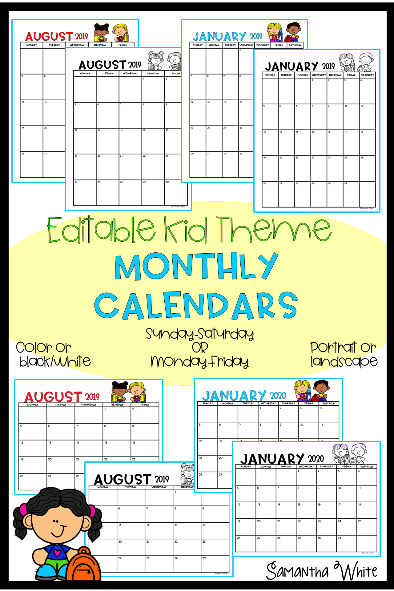 Monthly Editable Calendar 2019-2020 (Kid Theme) | Kids