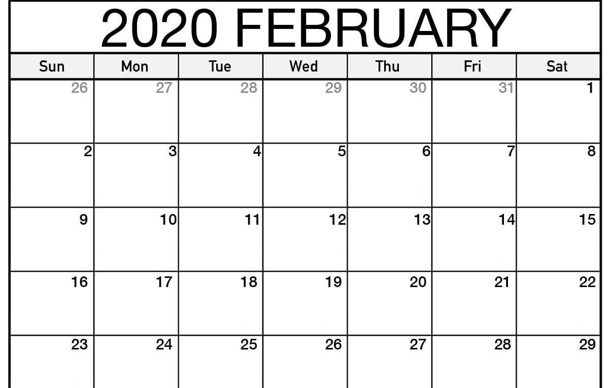 Monthly February 2020 Calendar - Blank Printable Template