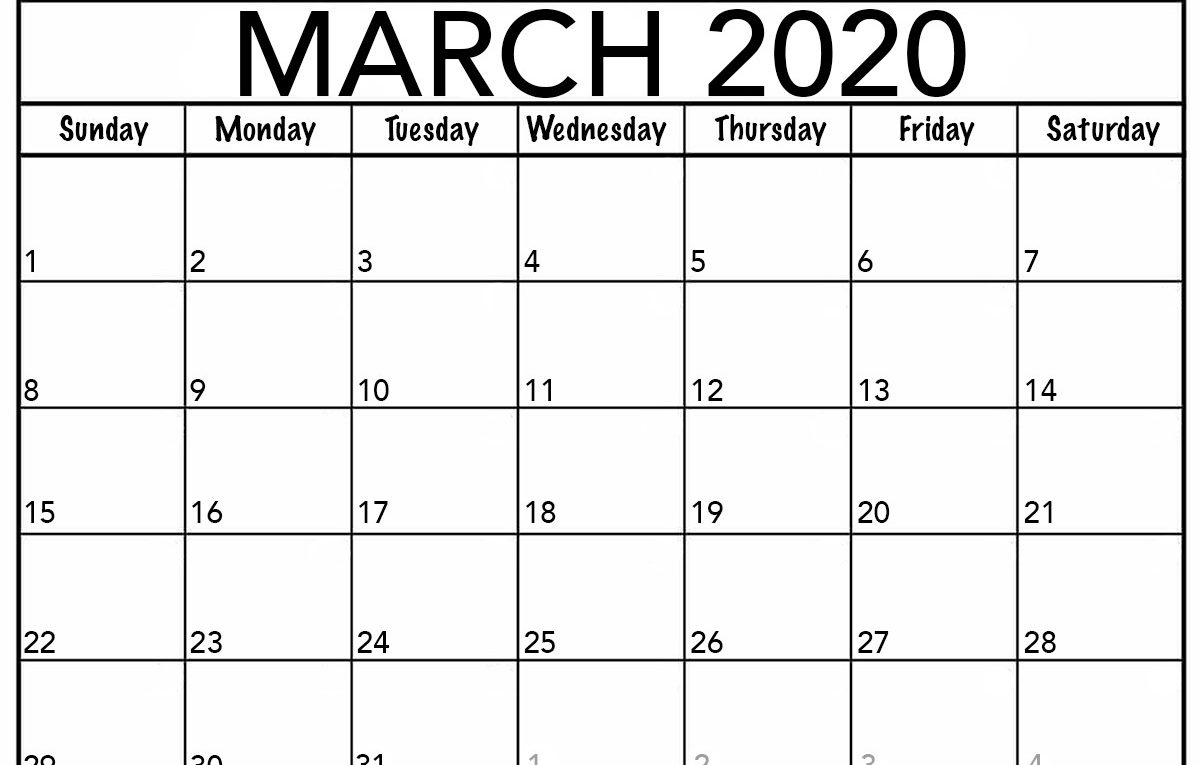 Monthly March 2020 Calendar – Blank Printable Template
