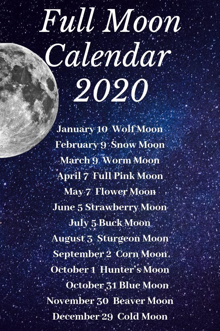 Moon Calendar 2020 | Moon Calendar, Moon Magic, Moon Witch