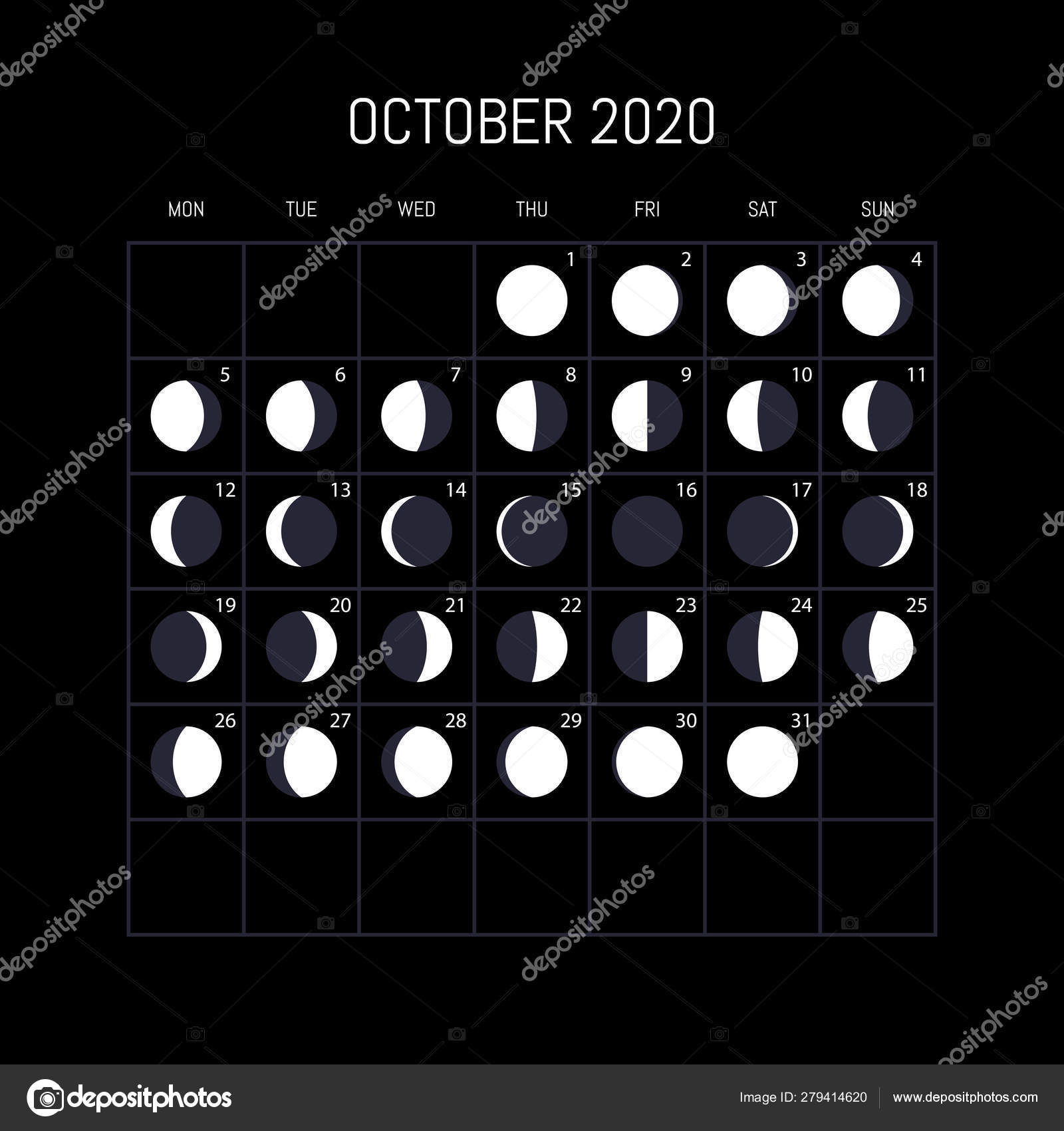 Moon Phases Calendar For 2020 Year. October. Night