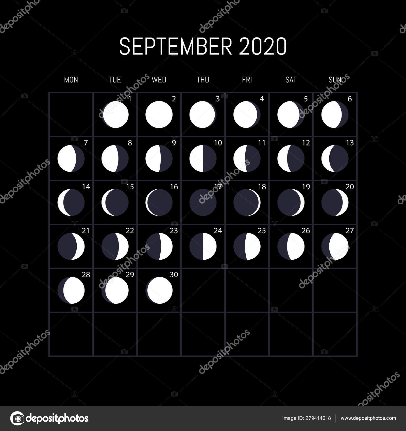 Moon Phases Calendar For 2020 Year. September. Night