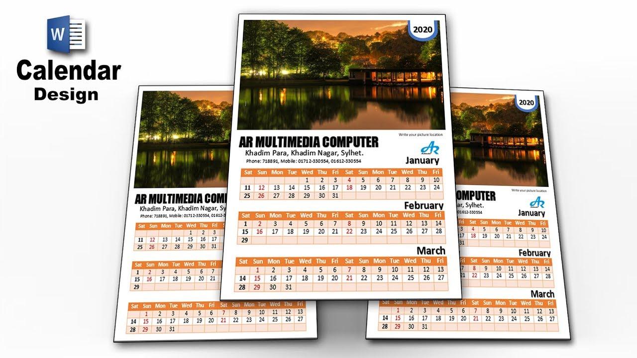 Ms Word Tutorial: Microsoft Word Calendar 2020| Calendar Design Ideas| Word  Monthly Calendar By Ar