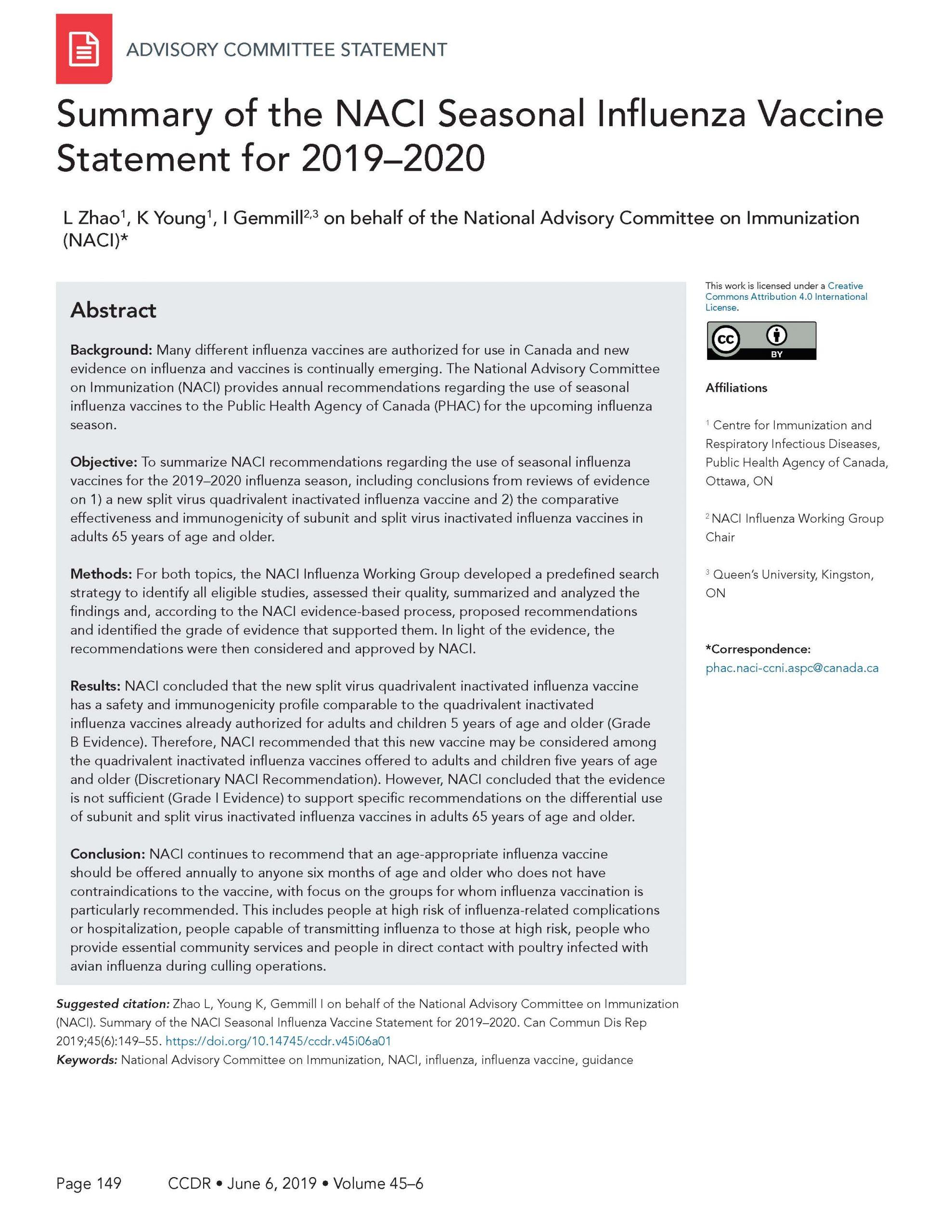 Naci Seasonal Influenza Vaccine Statement For 2019–2020