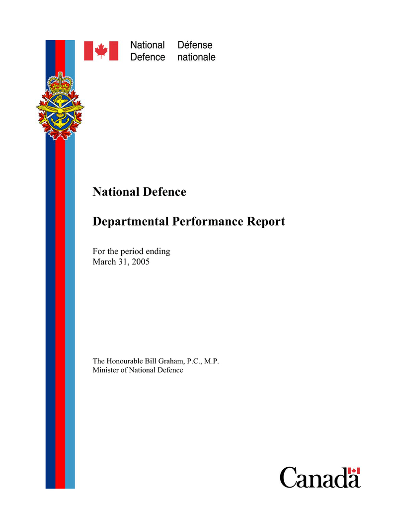 National Defence Departmental Performance Report For The