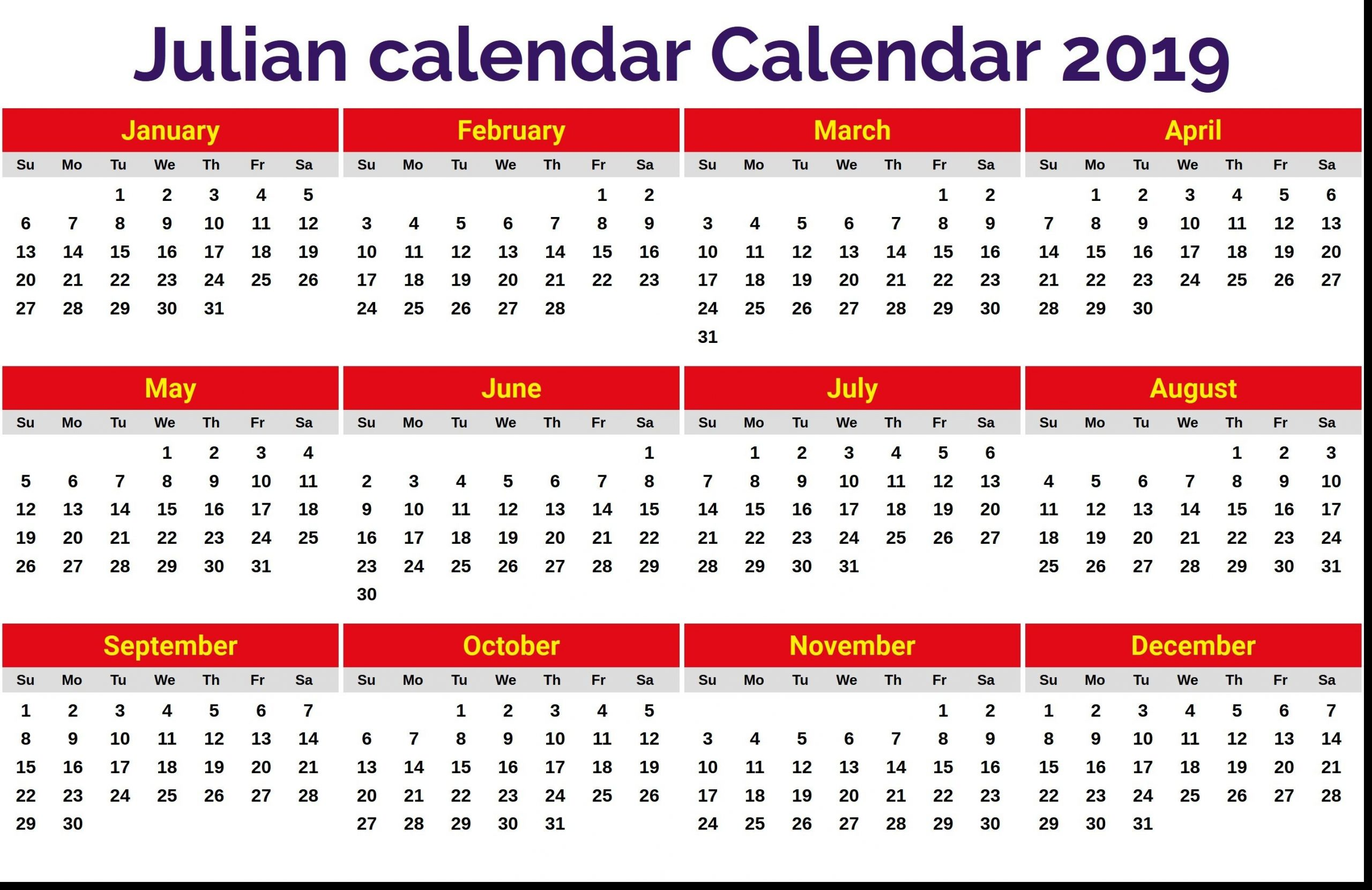 New 2019 Julian Date Calendar Printable | Printable Monthly