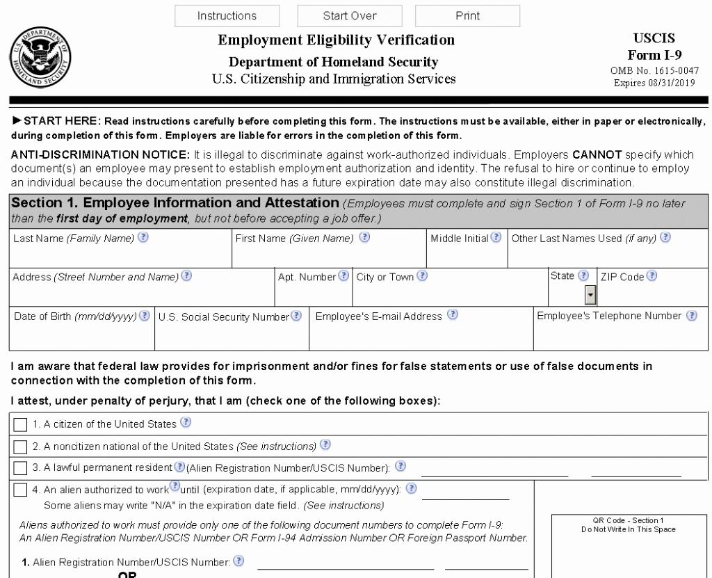 New I9 Forms 2020 Printable | Example Calendar Printable