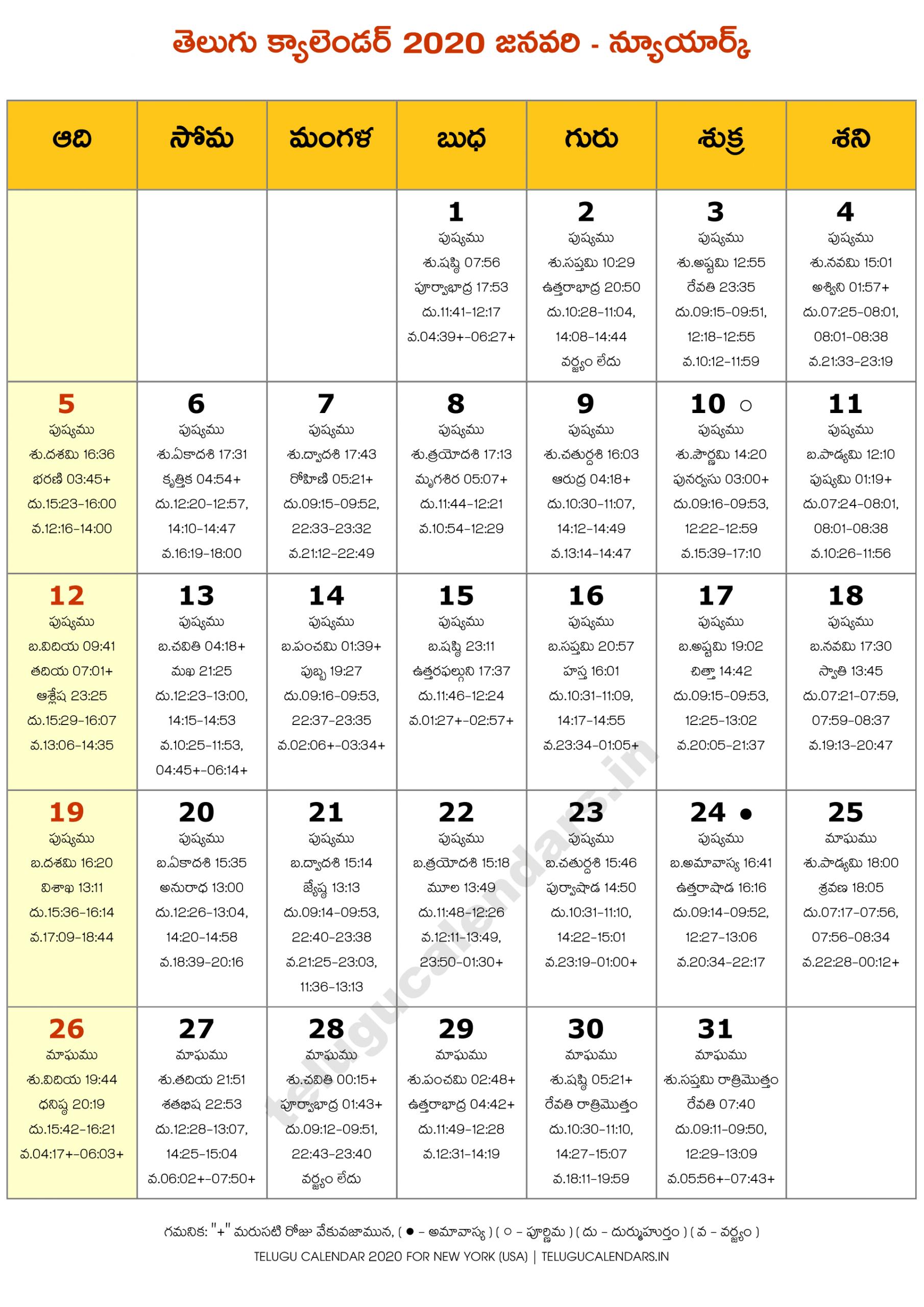 New York 2020 January Telugu Calendar | Telugu Calendars