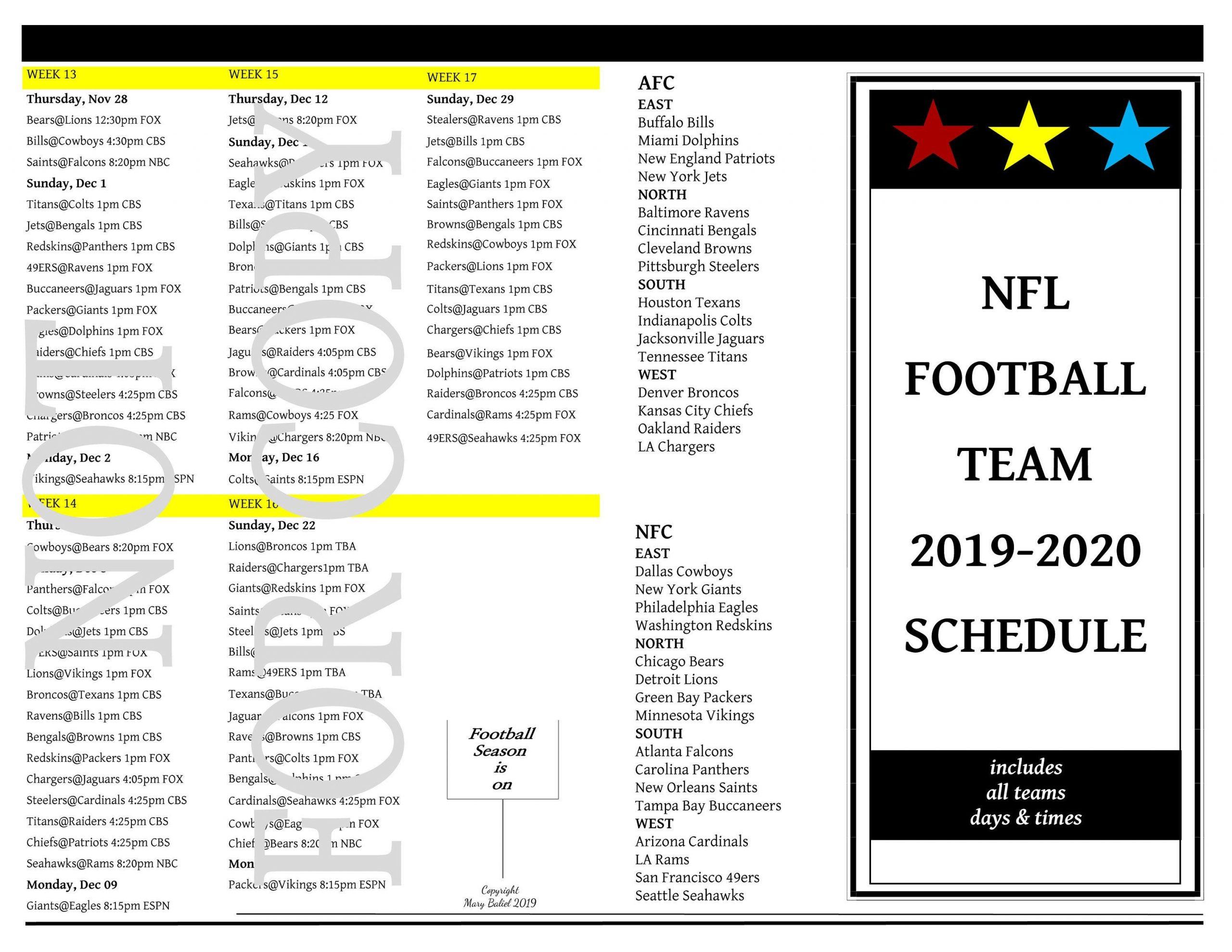 Nfl Custom 2019-2020 Football Schedule | Nfl Football