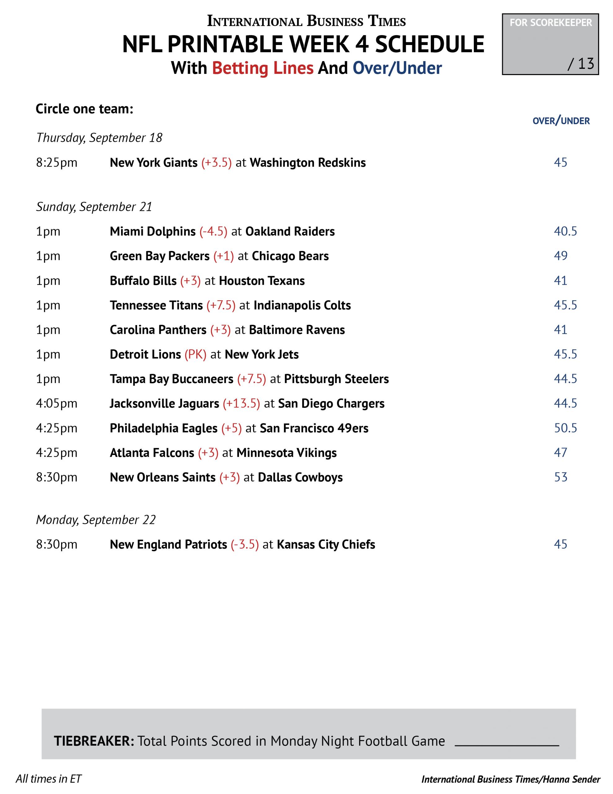 Nfl Office Pool 2014: Printable Week 4 Schedule With Betting