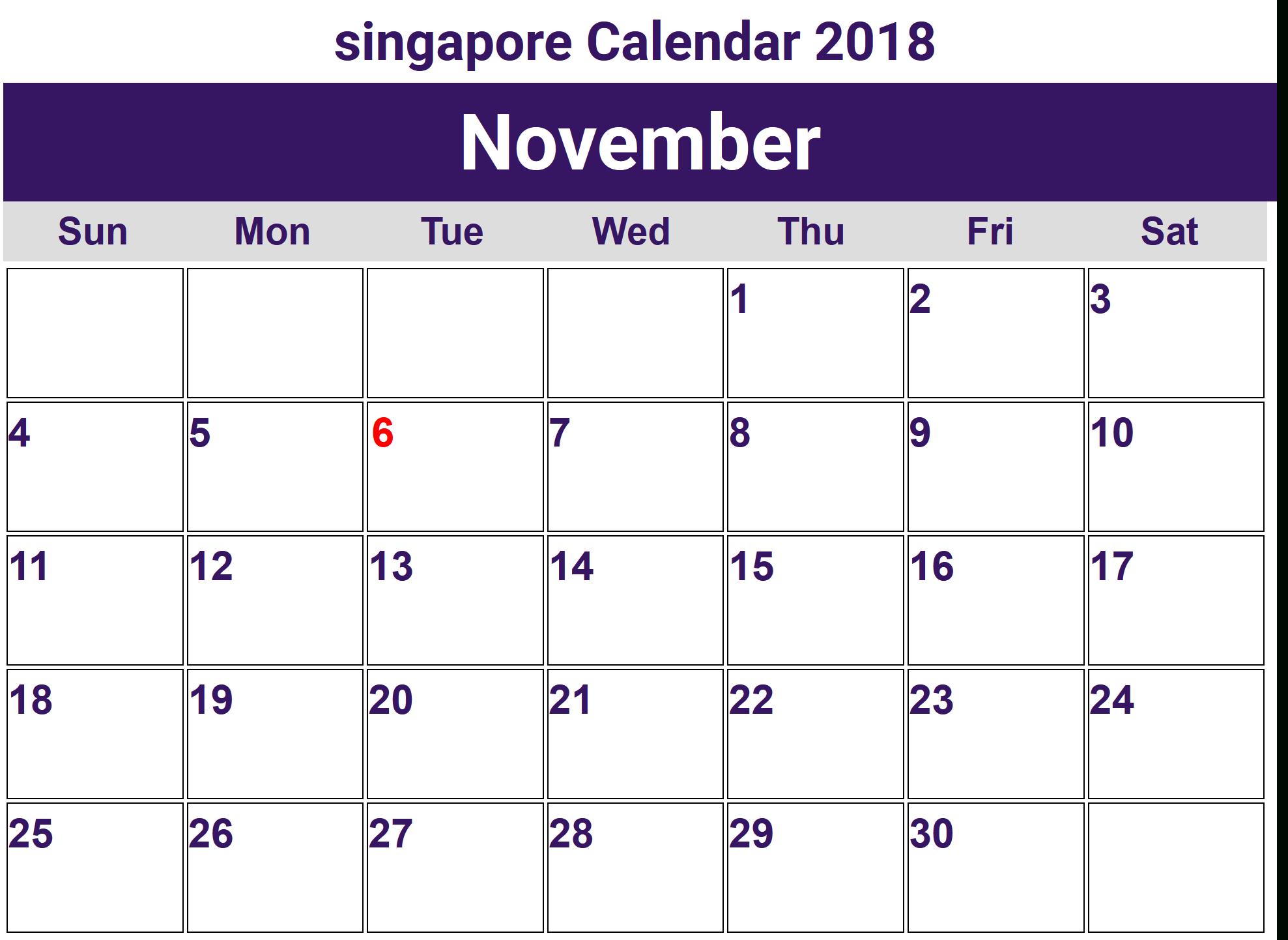 November 2018 Calendar Singapore Holidays | 2018 Holiday