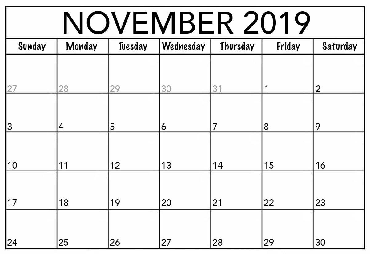 November 2019 Calendar Canada Printable - 2019 Calendars For