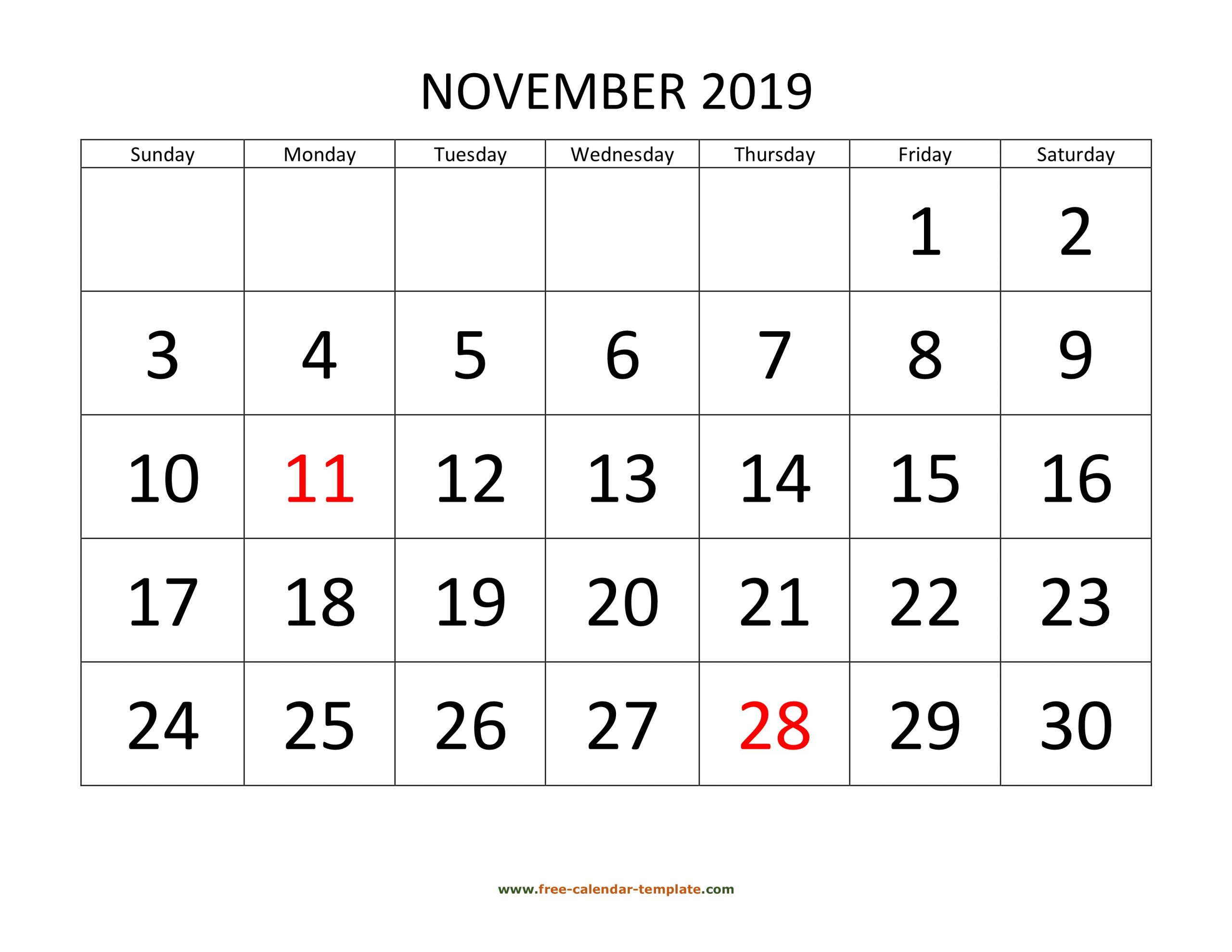 November 2019 Calendar Designed With Large Font (Horizontal