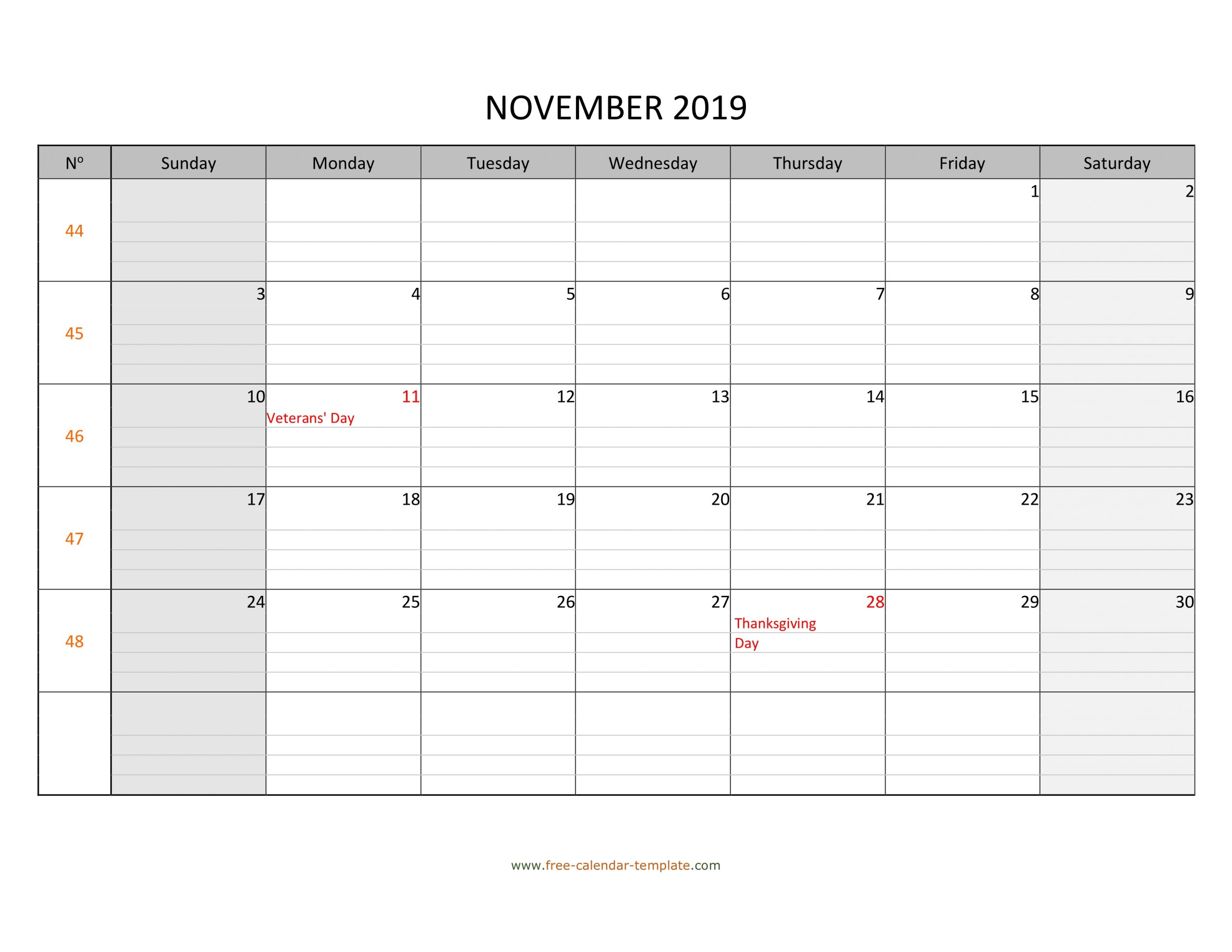 November 2019 Calendar Free Printable With Grid Lines