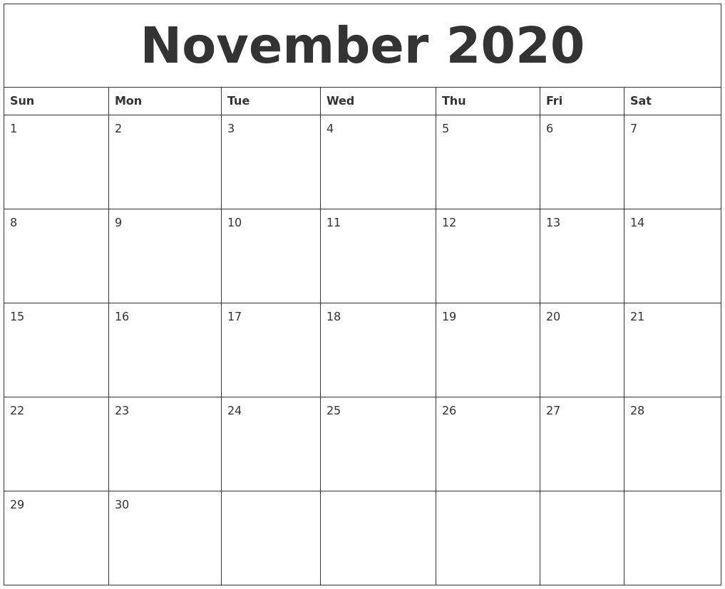 November 2020 Blank Monthly Calendar Template