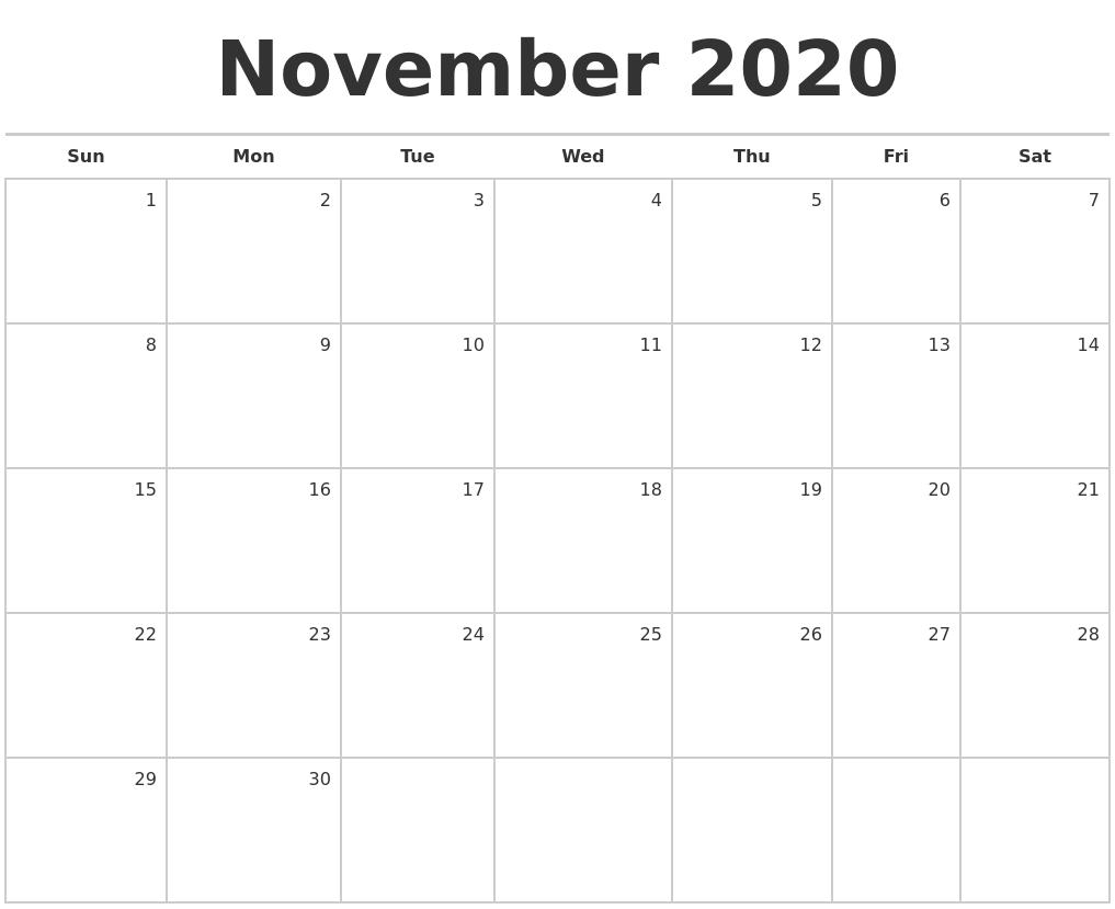 November 2020 Blank Monthly Calendar