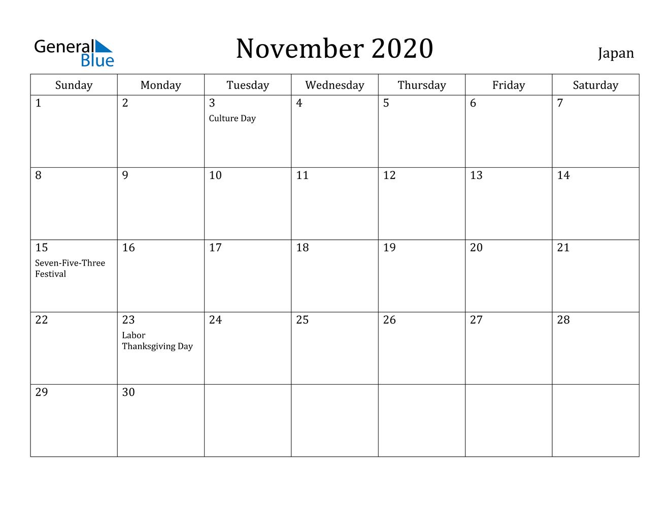 November 2020 Calendar - Japan
