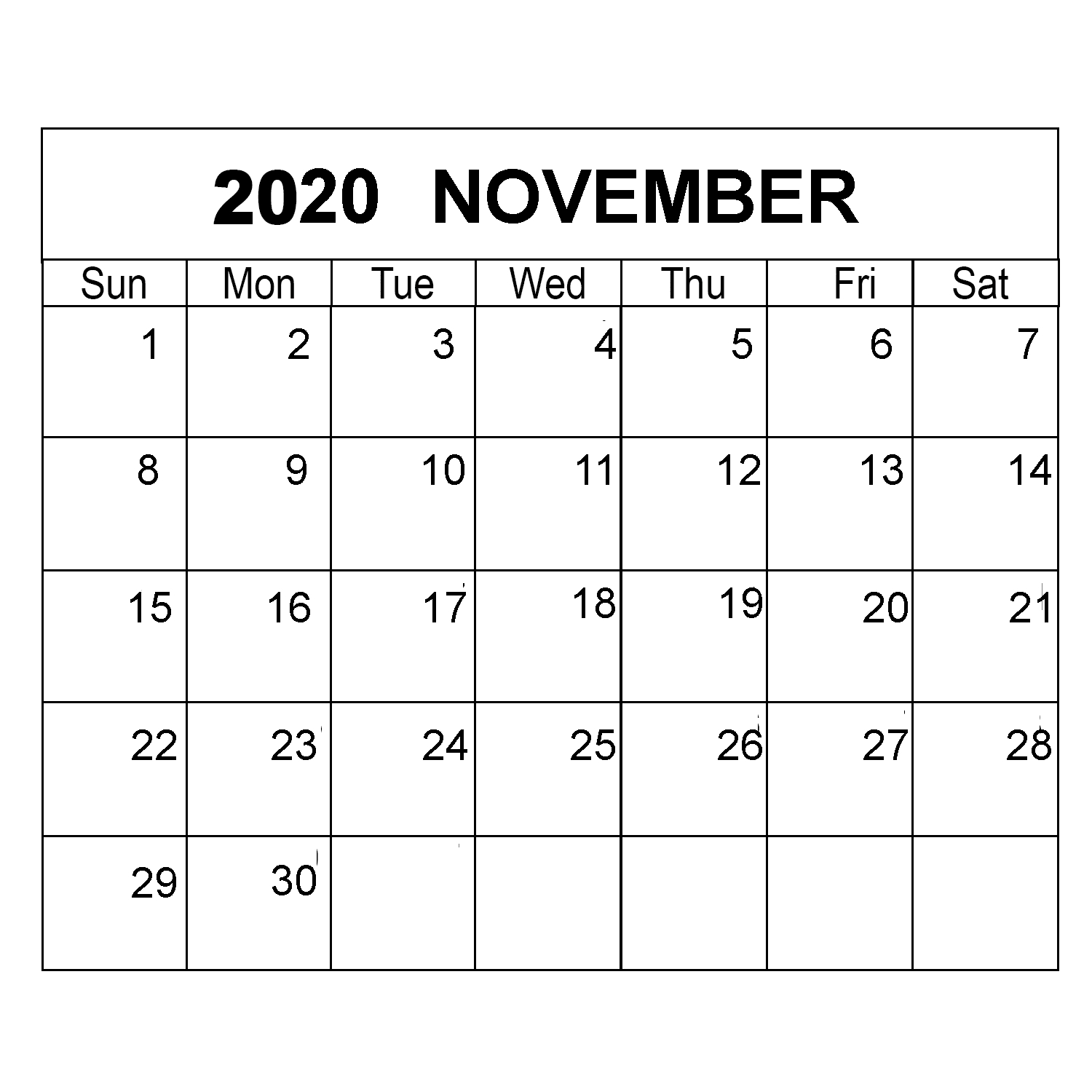 November 2020 Calendar Printable Monthly Template With Notes