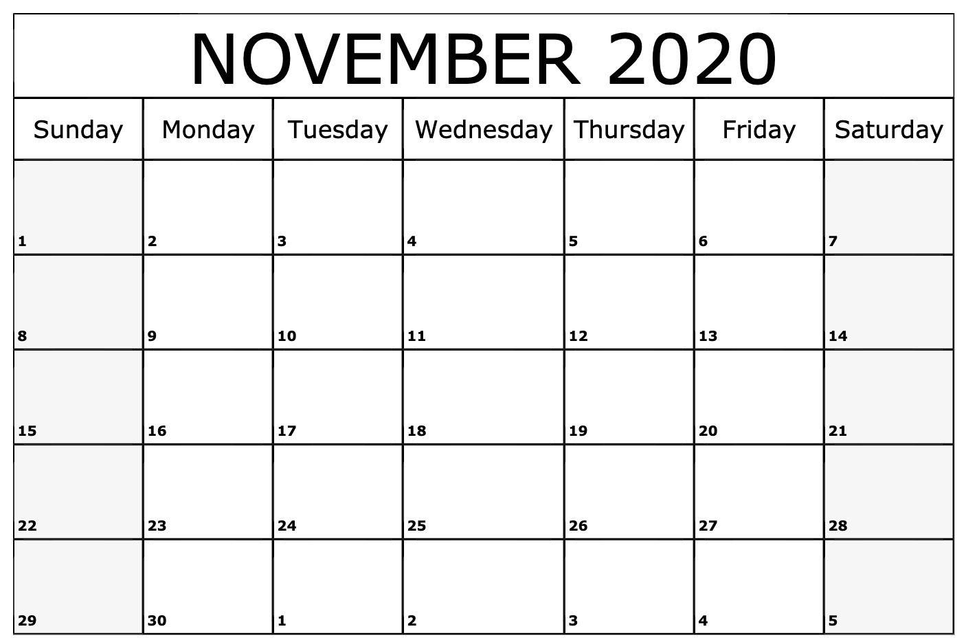November 2020 Calendar Printable Template | September