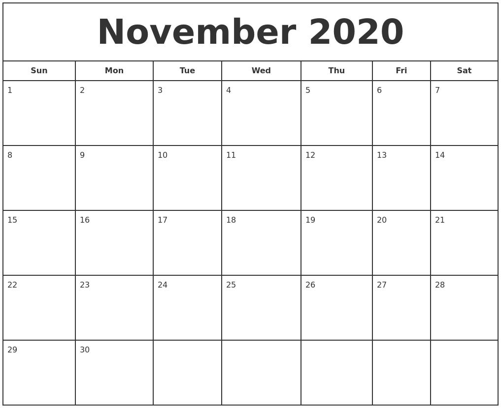 November 2020 Print Free Calendar