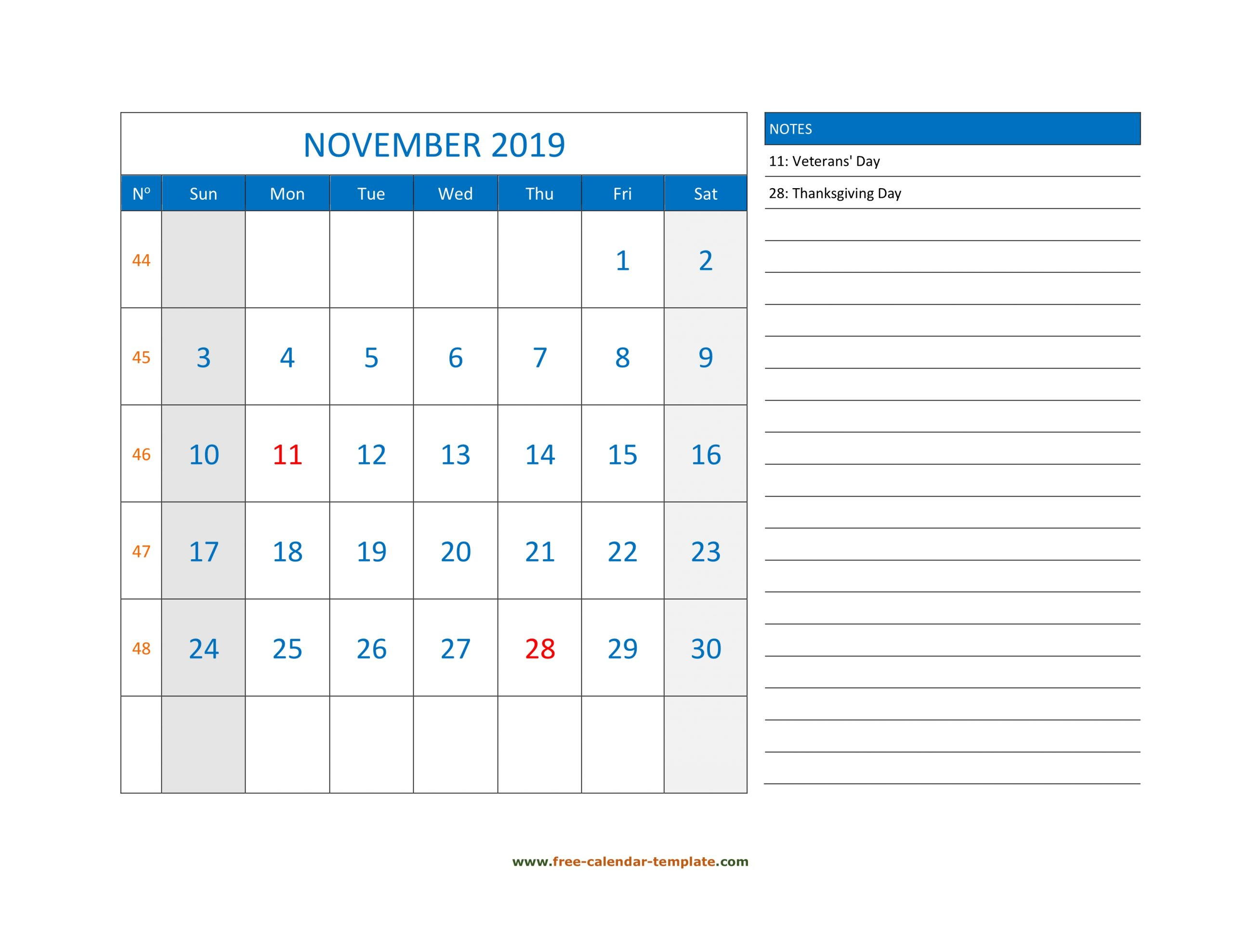 November Calendar 2019 Grid Lines For Holidays And Notes