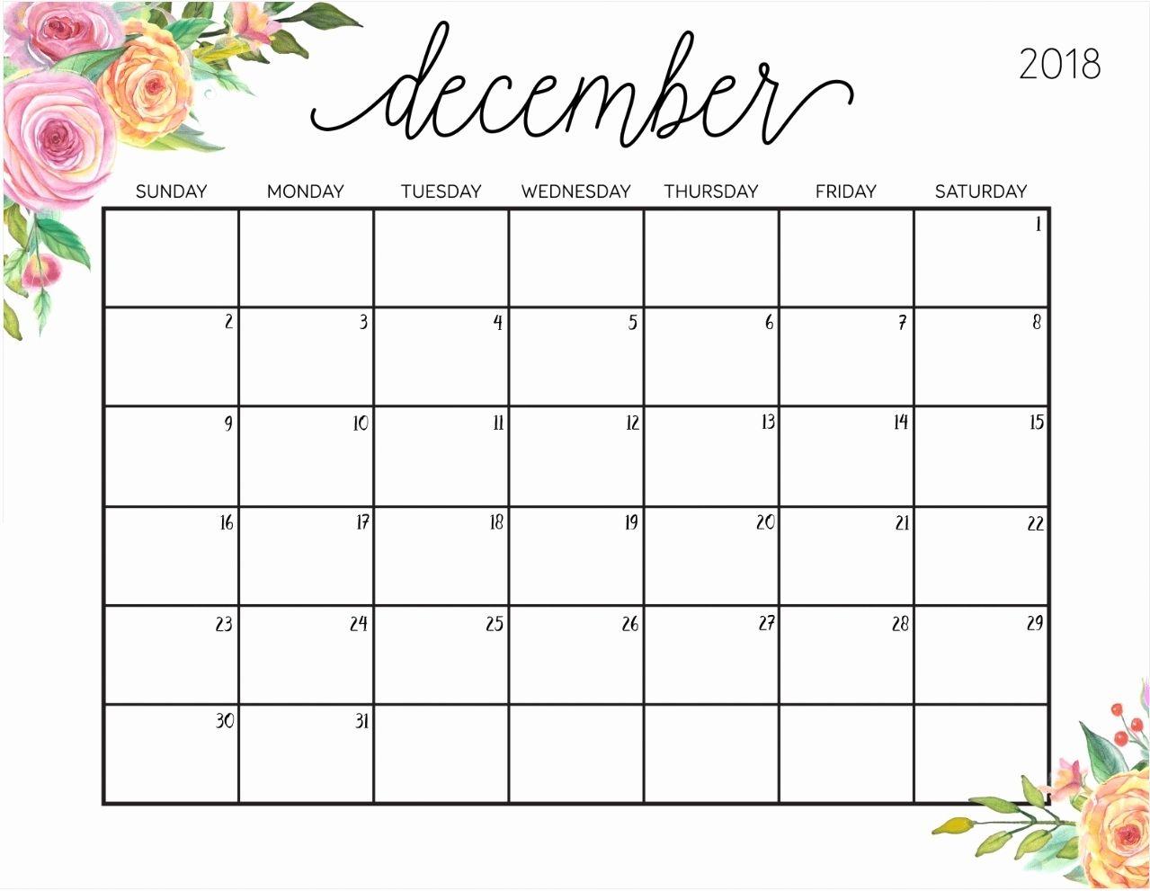 November December 2018 Printable Calendar December 2018